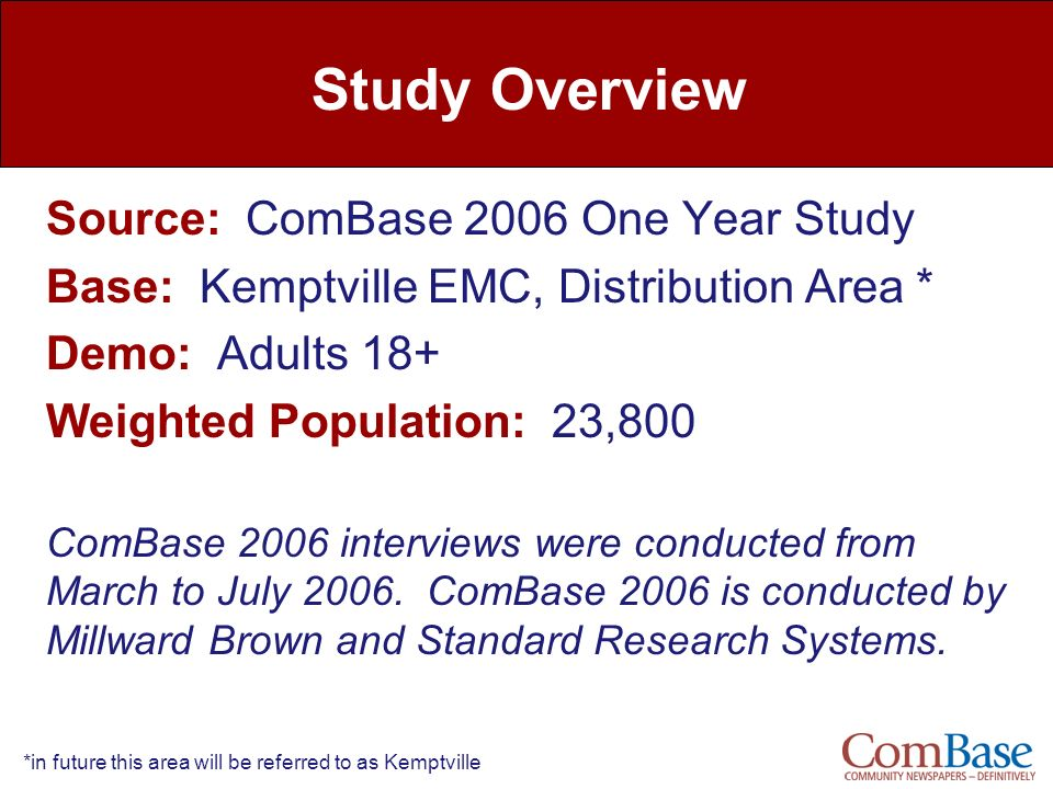 Study Overview Source: ComBase 2006 One Year Study
