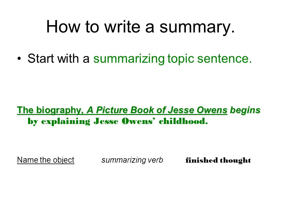 how to write a summary paragraph Learn how to write a summary in english to show you understand an article now write the main idea of each paragraph (or section) in one sentence.