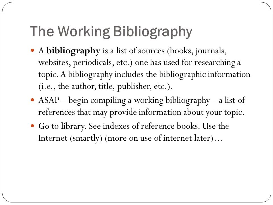 how to make a working bibliography