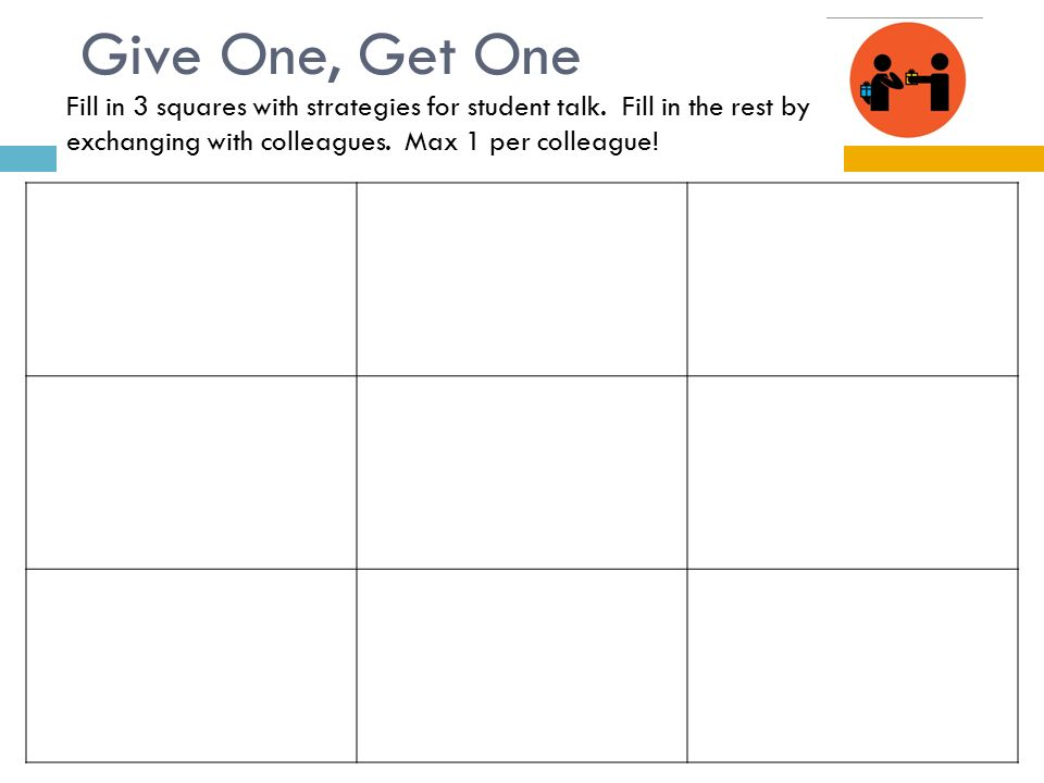 Give One, Get One Fill in 3 squares with strategies for student talk. Fill in the rest by exchanging with colleagues. Max 1 per colleague!