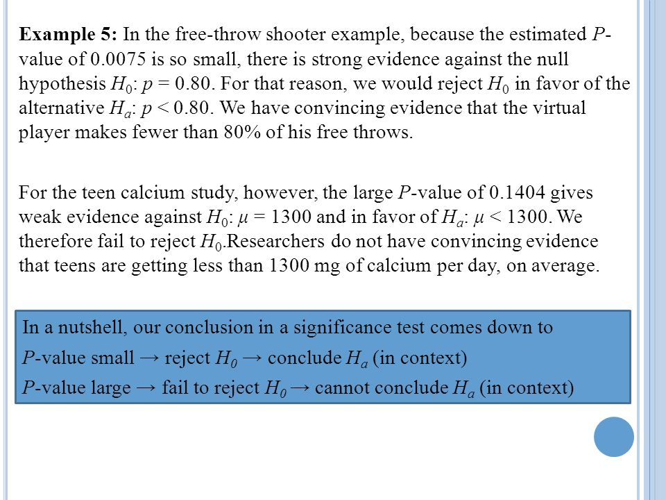 Example 5: In the free-throw shooter example, because the estimated P- value of is so small, there is strong evidence against the null hypothesis H0: p = For that reason, we would reject H0 in favor of the alternative Ha: p < We have convincing evidence that the virtual player makes fewer than 80% of his free throws.