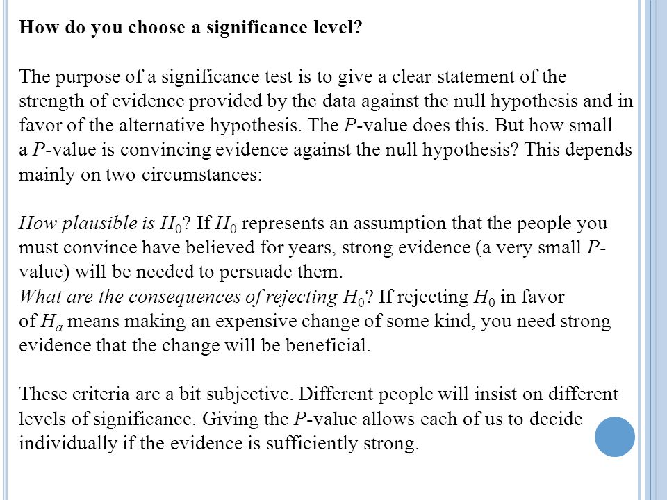 How do you choose a significance level