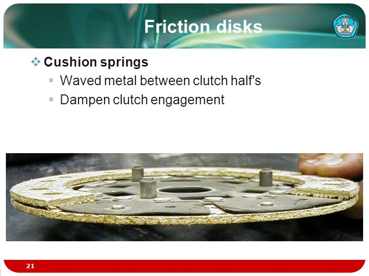 Friction disks Cushion springs Waved metal between clutch half s