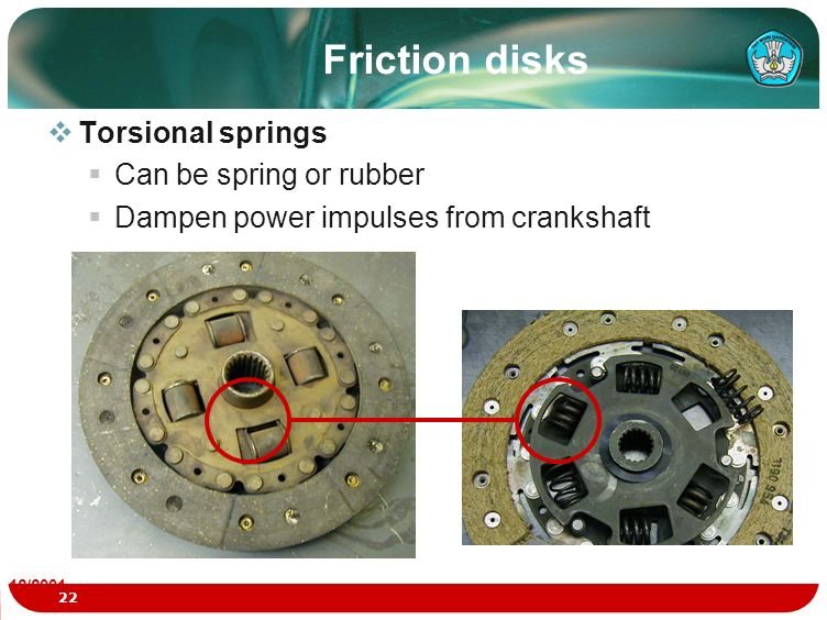 Friction disks Torsional springs Can be spring or rubber