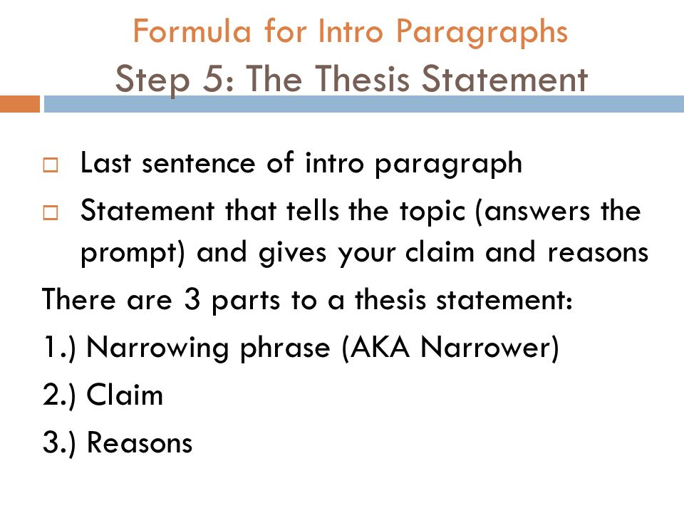 parts of a thesis paragraph