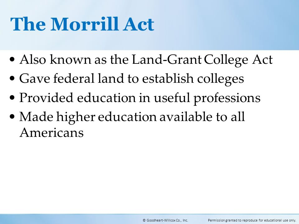 an analysis of the land grant act An analysis of public land grant universities shows that 10 states failed to provide more than $56 million from 2010 to  under the morrill act of.