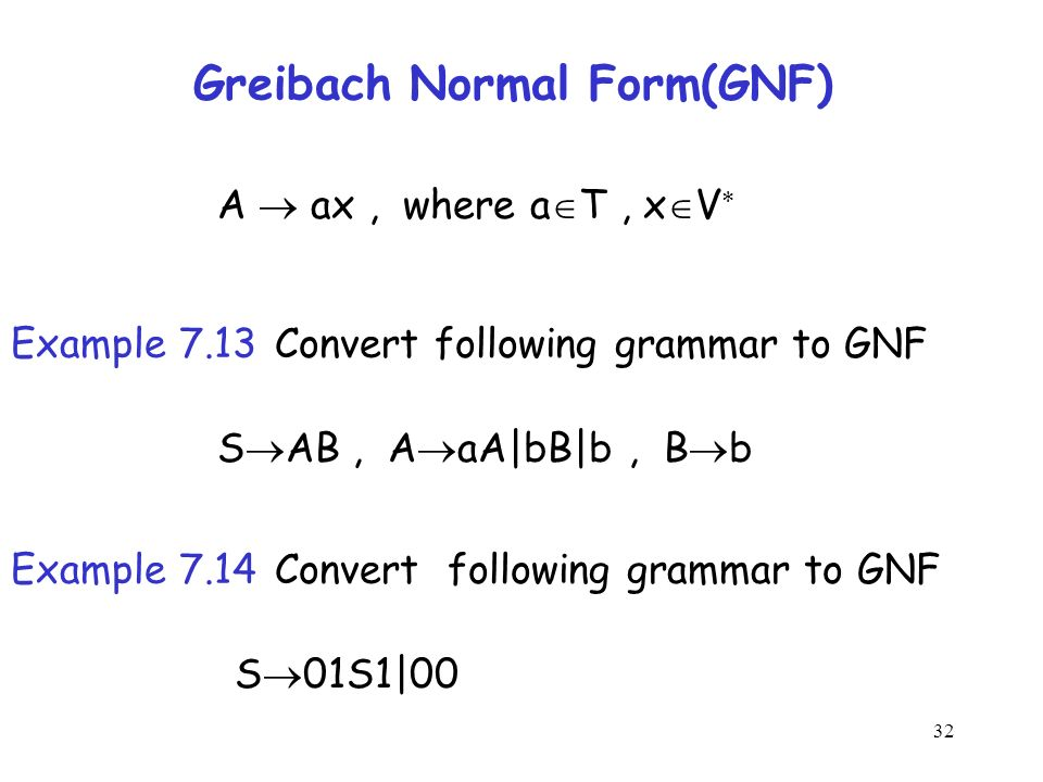 cnf and gnf Every cfg that doesn't generate the empty string can be simplified to the chomsky normal form and greibach normal form the derivation tree in a grammar in cnf is a binary tree in the gnf, a string of length n has a derivation of exactly n steps grammars in normal form can facilitate proofs cnf is used as starting.