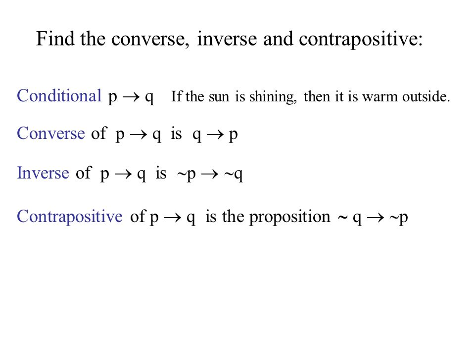 Find the converse, inverse and contrapositive:
