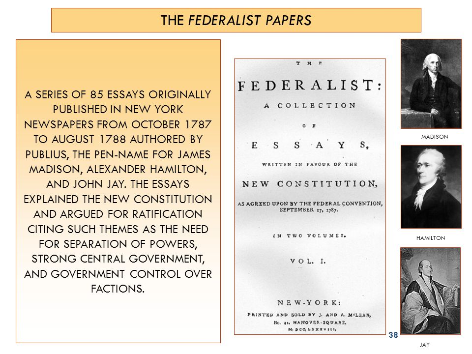 Introductory Note: The Federalist, [27 October 1787–28 May 1788]