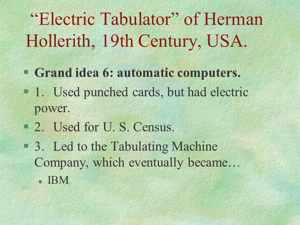 Electric Tabulator of Herman Hollerith, 19th Century, USA.