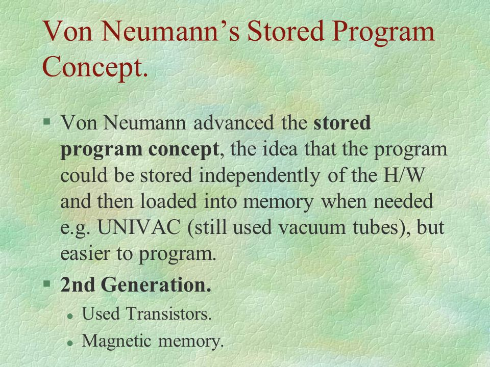 Von Neumann's Stored Program Concept.
