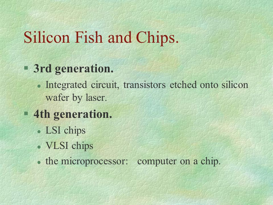 Silicon Fish and Chips. 3rd generation. 4th generation.