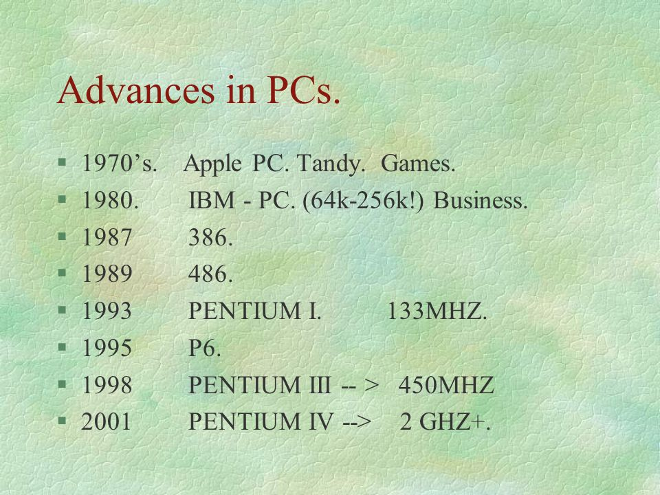 Advances in PCs. 1970's. Apple PC. Tandy. Games.
