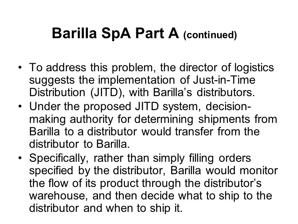 barilla spa questions essay Read barilla spa free essay and over 88,000 other research documents barilla spa barilla has been facing huge variability in demand which is straining the manufacturing and distribution network of the company.