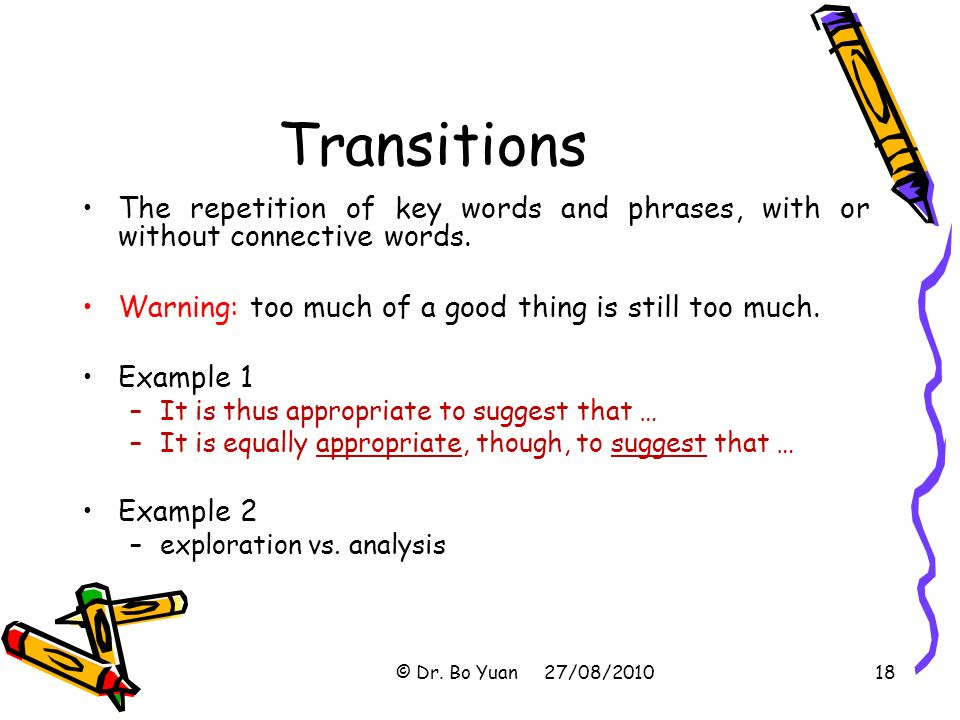 transition words and phrases for thesis