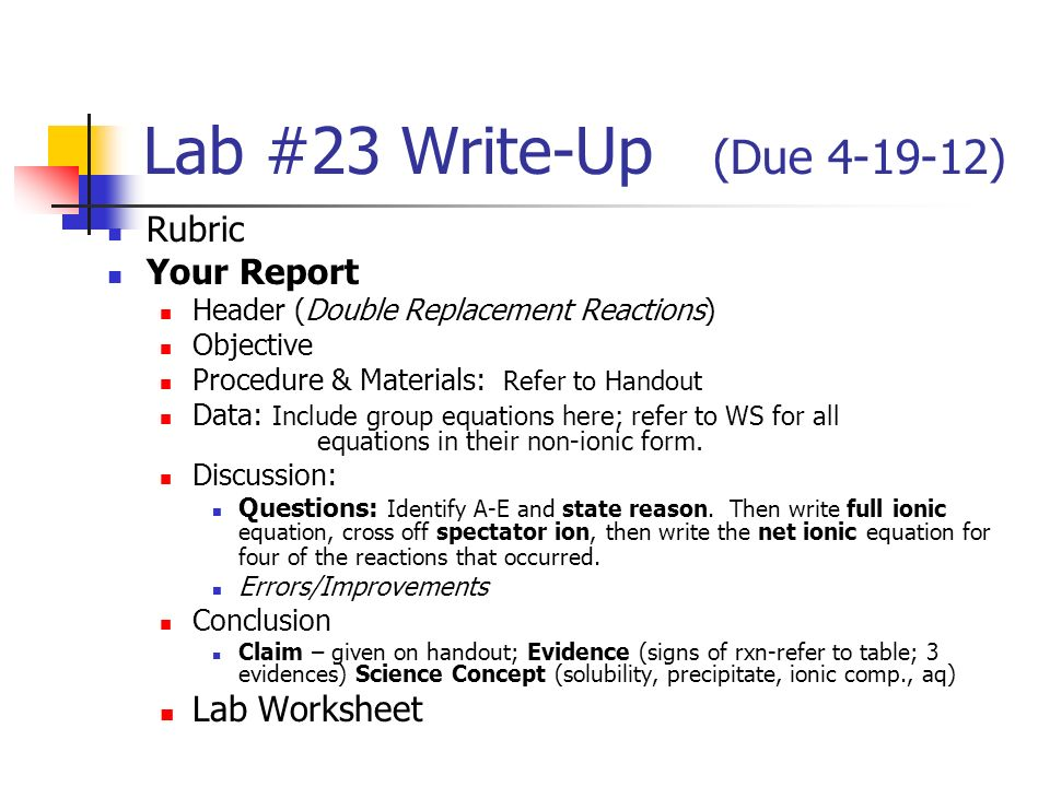 Lab 23 WriteUp Due Rubric Your Report Lab Worksheet ppt – Double Replacement Worksheet