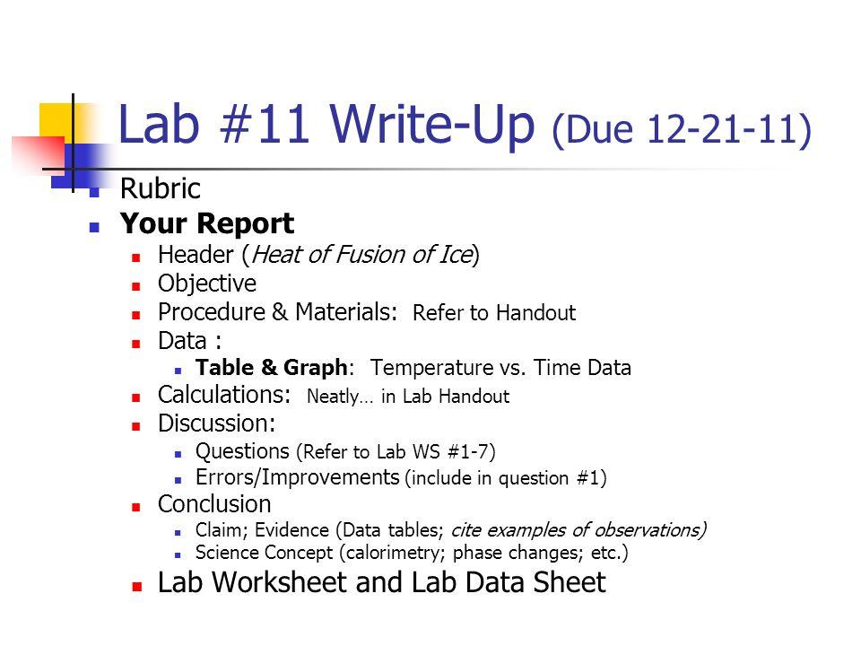 Lab 23 WriteUp Due Rubric Your Report Lab Worksheet ppt – Calorimetry Worksheet