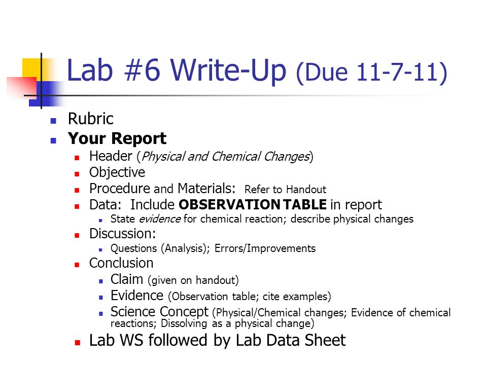 lab report: physical and chemical changes essay An inquiry-based lab investigation from energy foundations for high school chemistry skip temperature and the classification of a change as chemical or physical.