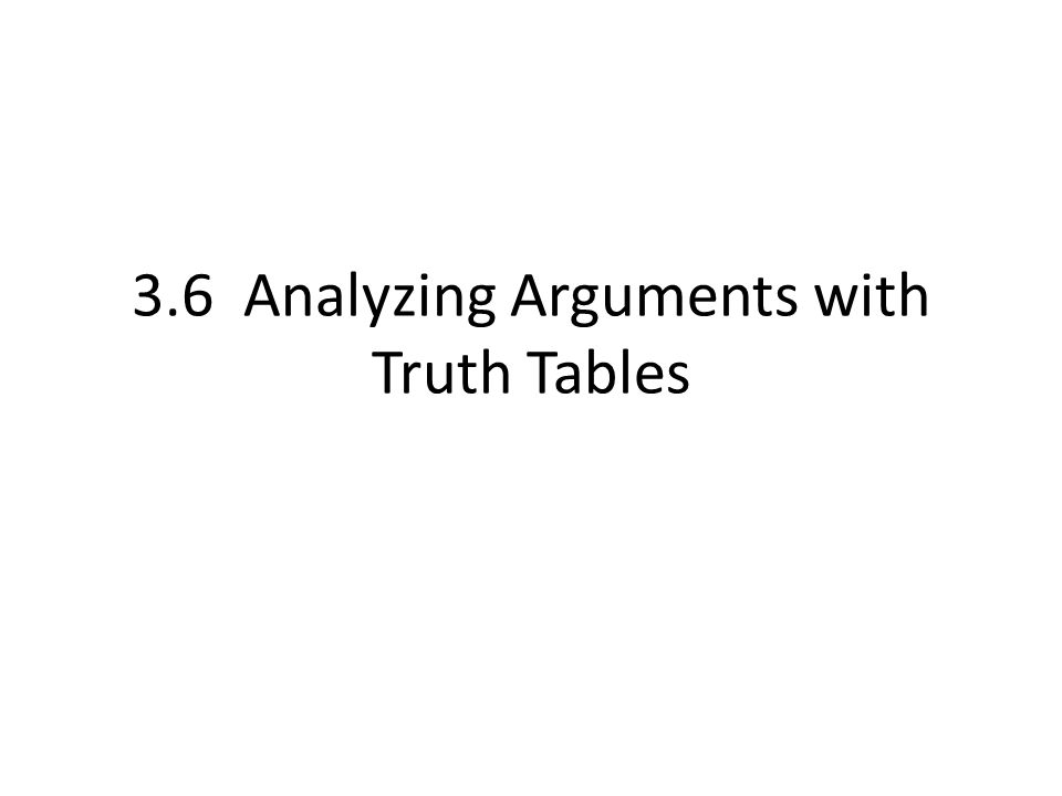 3.6 Analyzing Arguments with Truth Tables