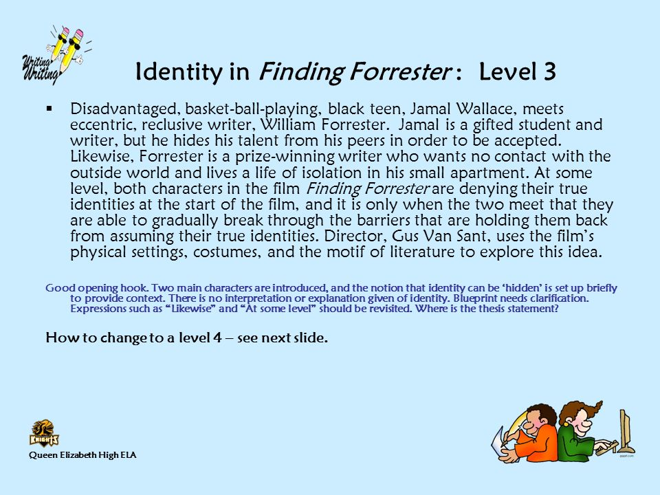 writing a thesis statement ppt video online  identity in finding forrester level 3