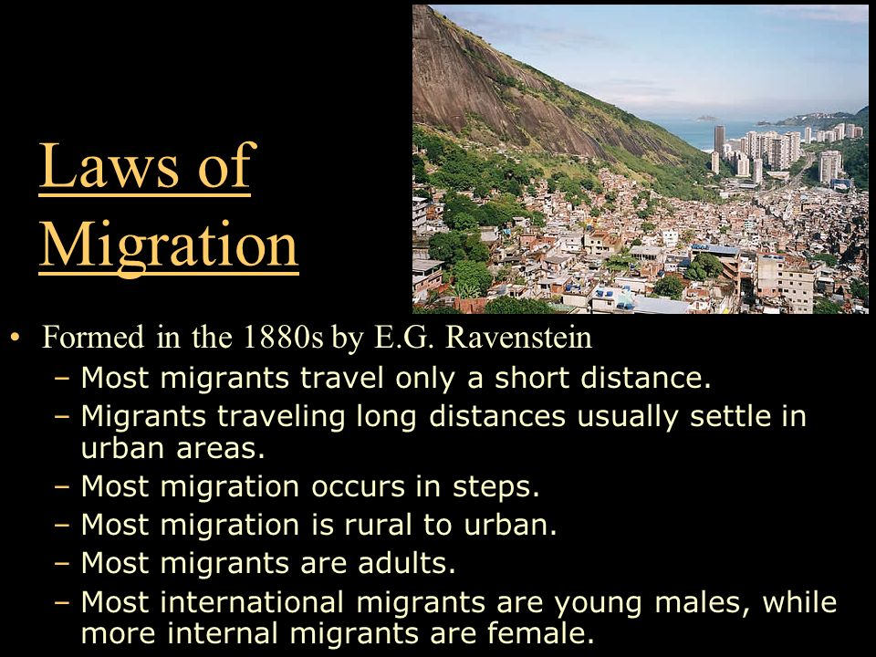 Laws of Migration Formed in the 1880s by E.G. Ravenstein