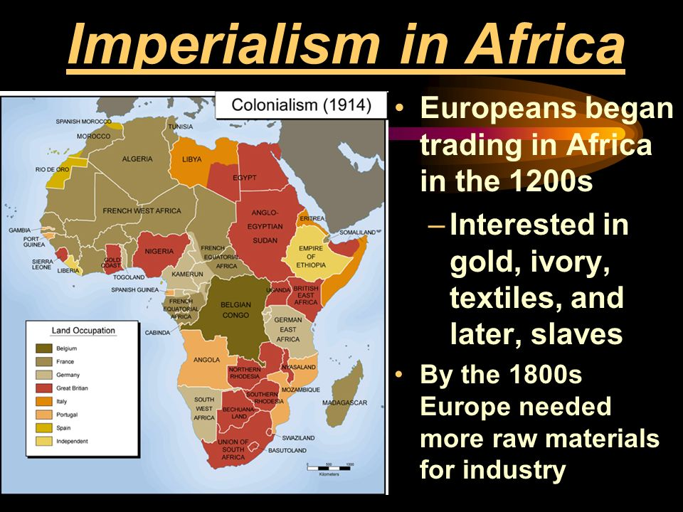 Imperialism in Africa Europeans began trading in Africa in the 1200s