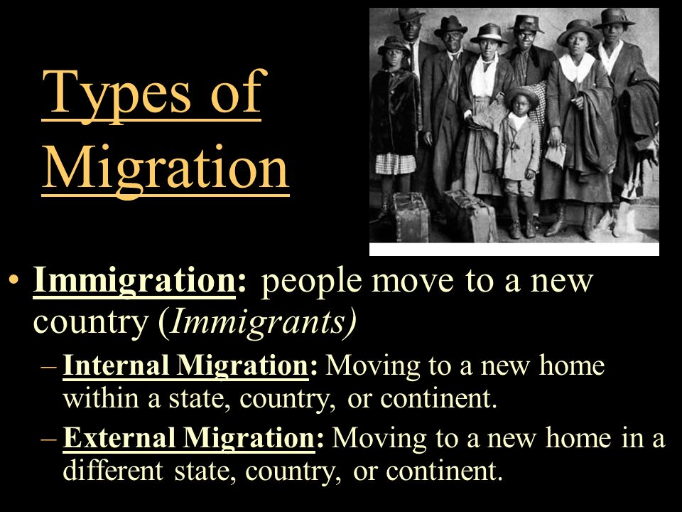 Types of Migration Immigration: people move to a new country (Immigrants)