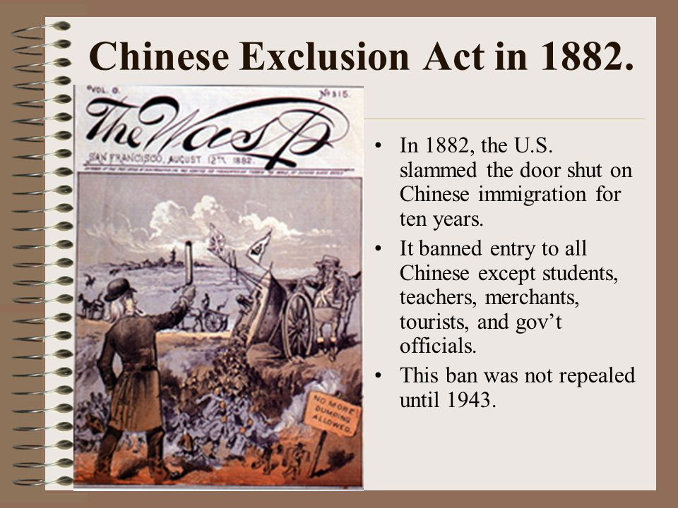 the chinese exclusion act should be repealed The american campaign to repeal chinese exclusion in 1943 xiaohua ma  it will focus on the repeal of the chinese exclusion acts in 1943 by examining the interaction  racism subsequently, the immigration act of 1924 completely stopped the flow of immigrants from asia into the united states.