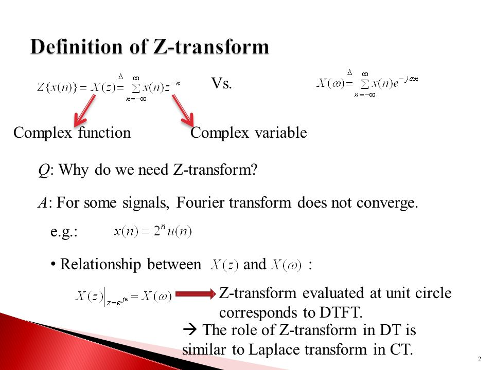 relationship between z and transform to