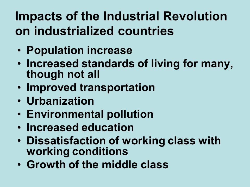 Impacts of the Industrial Revolution on industrialized countries