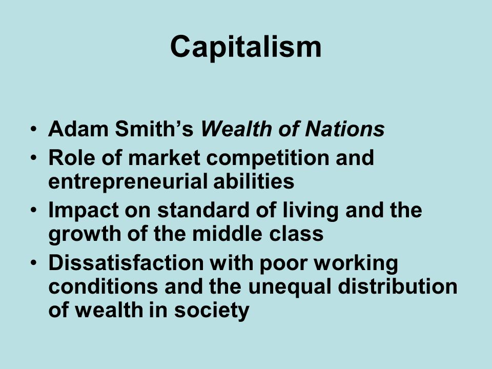 Capitalism Adam Smith's Wealth of Nations