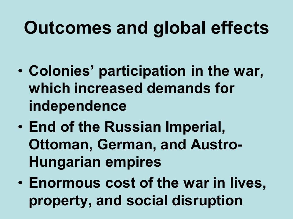 Outcomes and global effects