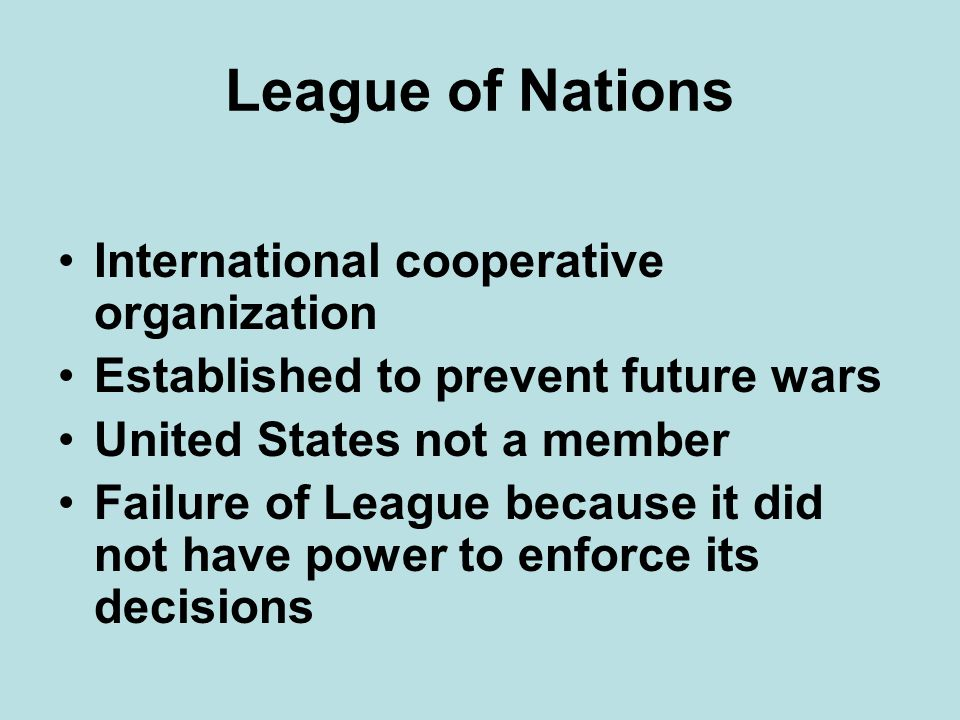 League of Nations International cooperative organization