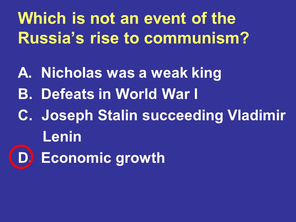 Which is not an event of the Russia's rise to communism