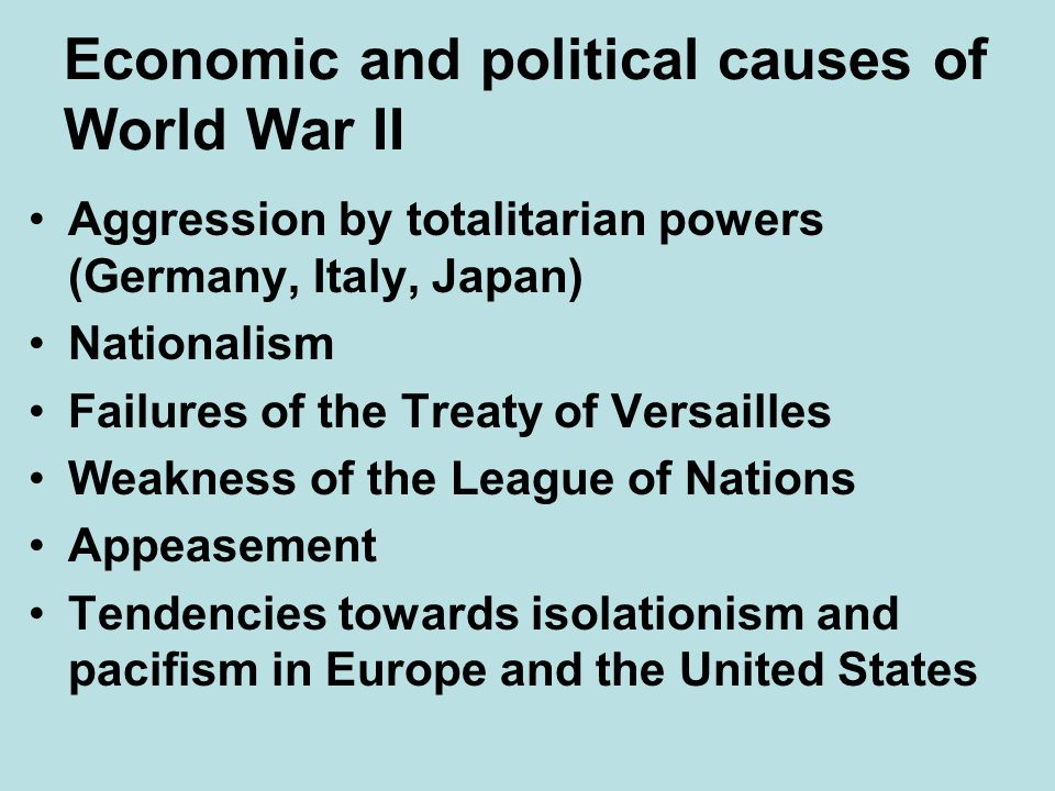 Economic and political causes of World War II