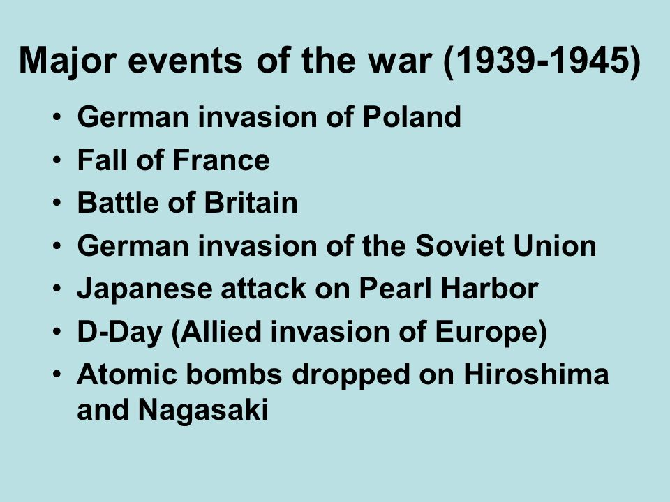 Major events of the war ( )