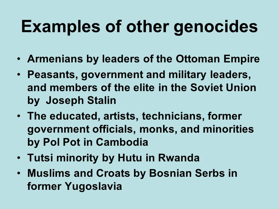 Examples of other genocides