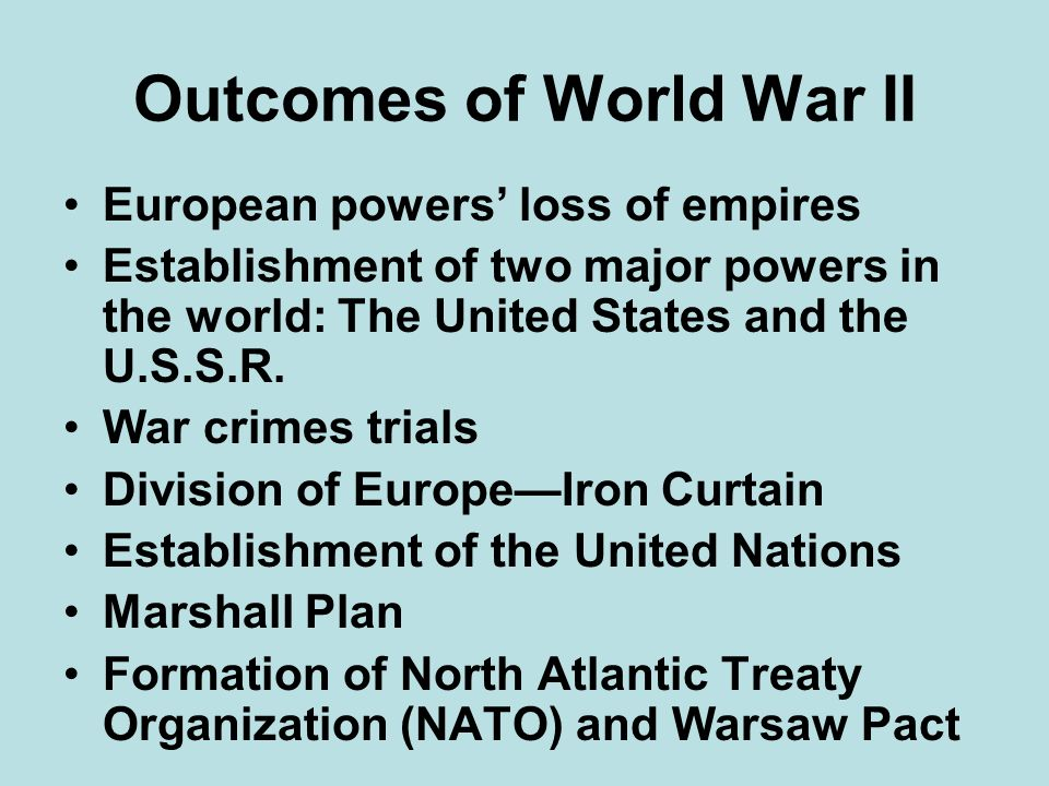 Outcomes of World War II