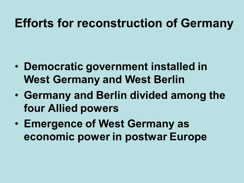 Efforts for reconstruction of Germany