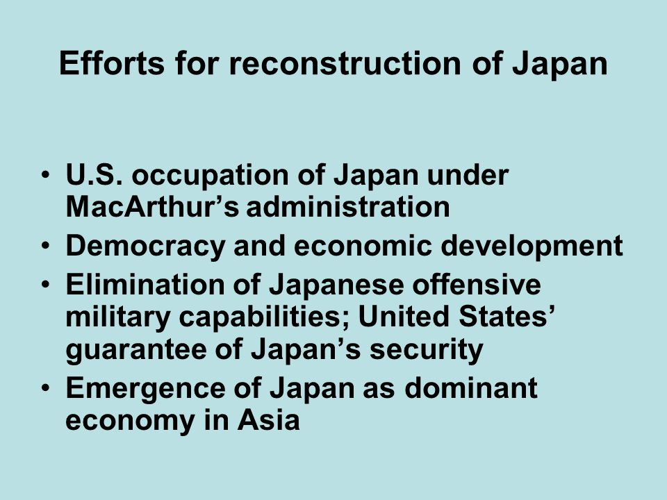 Efforts for reconstruction of Japan