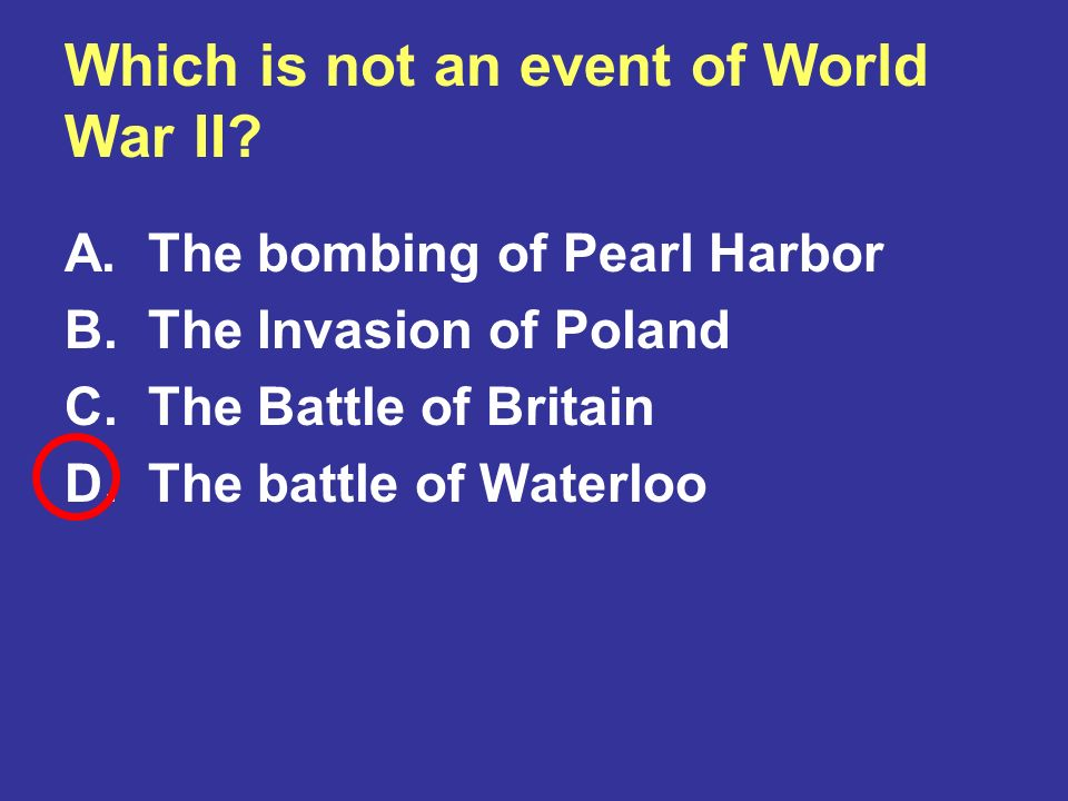 Which is not an event of World War II
