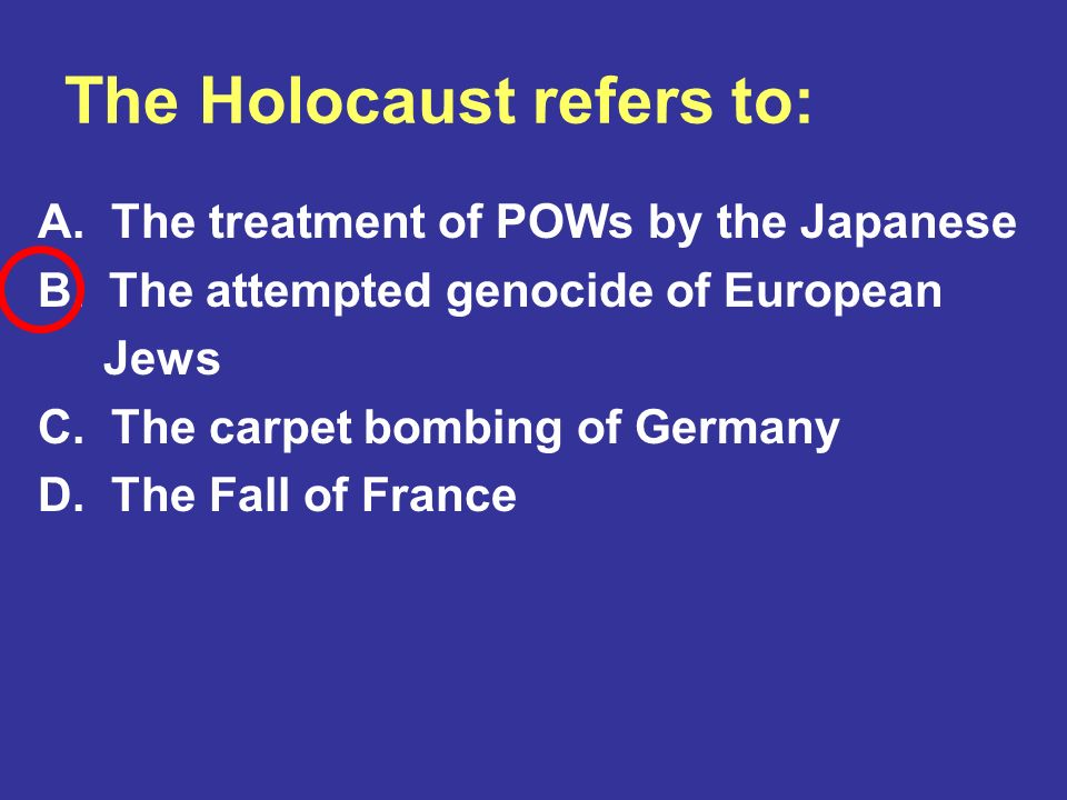 The Holocaust refers to: