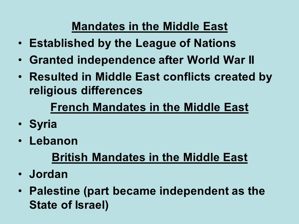 French Mandates in the Middle East British Mandates in the Middle East