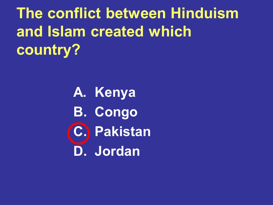 The conflict between Hinduism and Islam created which country