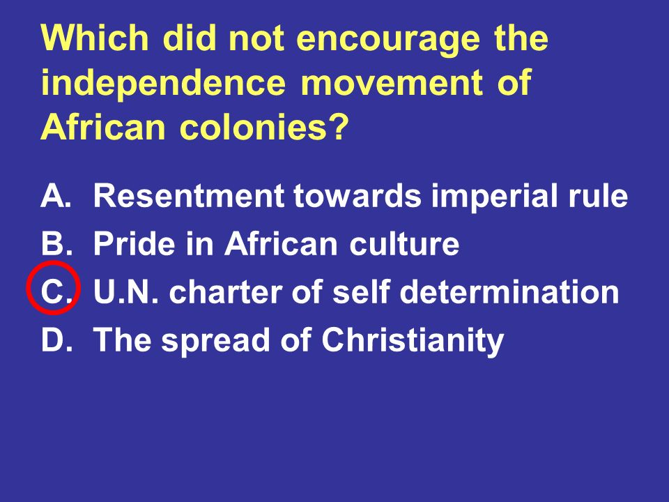 Which did not encourage the independence movement of African colonies
