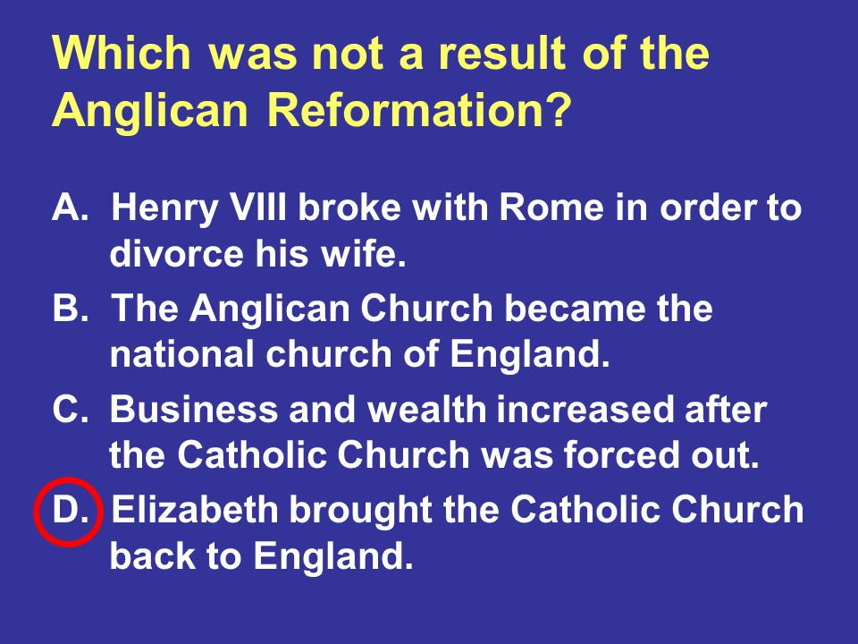 Which was not a result of the Anglican Reformation