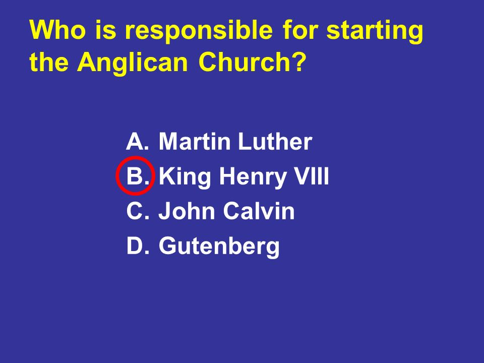 Who is responsible for starting the Anglican Church