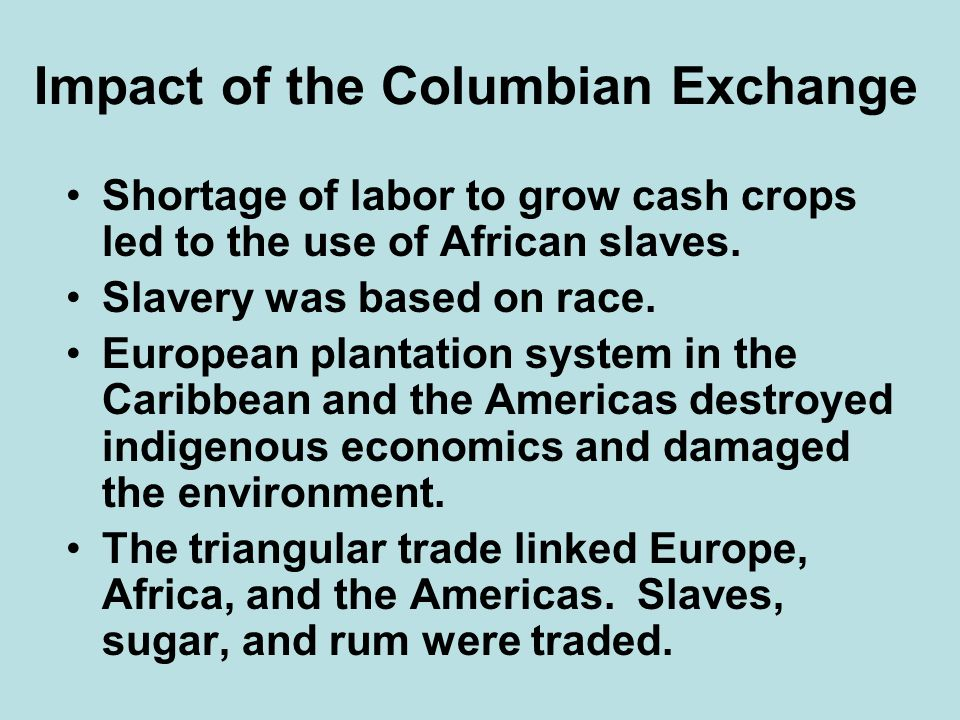 Impact of the Columbian Exchange