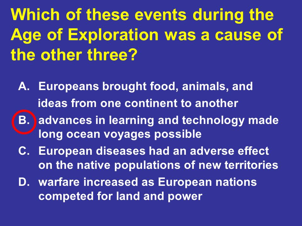 Which of these events during the Age of Exploration was a cause of the other three