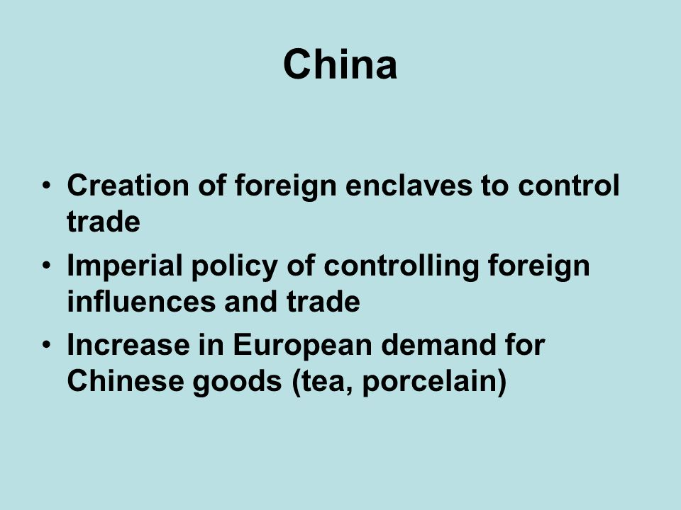China Creation of foreign enclaves to control trade